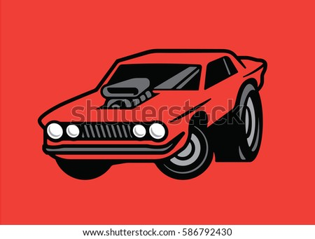 Muscle Car Cartoon Air Scoop Stock Vector Royalty Free 586792430