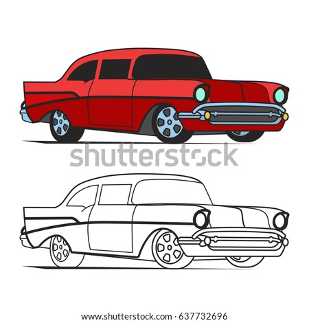 Muscle Car Cartoon Classic Vector Poster Stock Vector Royalty Free
