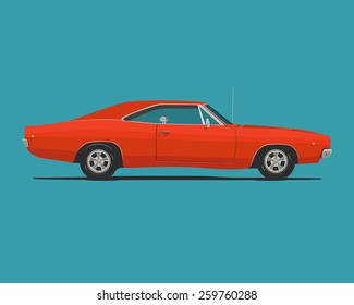 Muscle car. Flat styled vector illustration