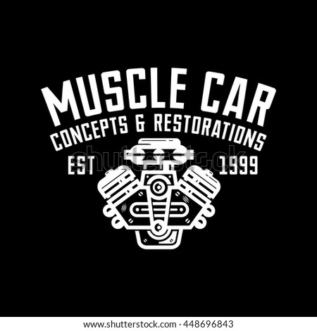 Muscle Car Garage Retro Style Logo Stock Vector Royalty Free