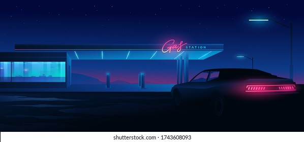 Muscle car at a gas station at night. Night landscape with silhouettes of mountains and sky with stars.