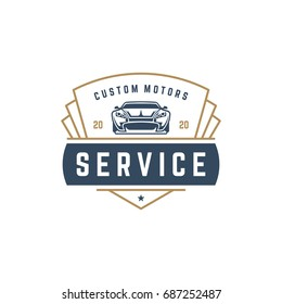 Muscle car logo template vector design element vintage style for label or badge retro illustration. Classic car silhouette.