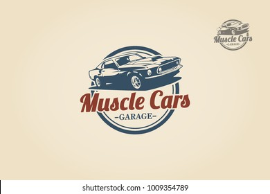 Muscle Car logo template for your company. Vector logo illustration