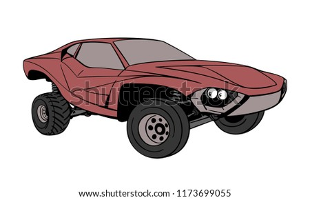 Muscle Car Off Road Concept Hand Stock Vector Royalty Free