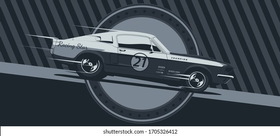 Muscle car on racing, vintage colors, vector illustration.
