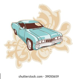 The muscle car over the ornament with floral motifs.