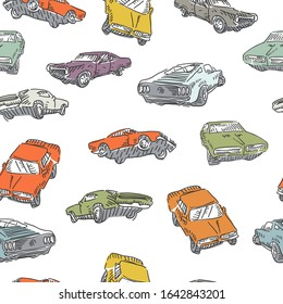 Muskelwagen nahtloses Muster. Springendes Rallye-Auto, alte Schulwagen drucken. Vektorillustration.