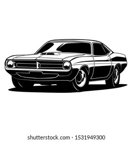 Muscle car vector illustration in black only, white is negative space, good for t shirt, poster, company or garage logo, etc.