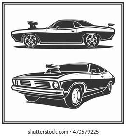 Muscle car vector poster logo illustration