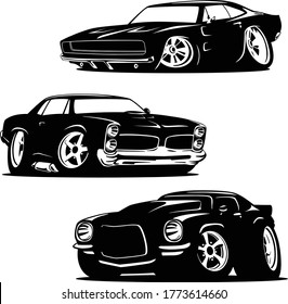 Muscle Cars Cartoons Silhouette Set Isolated Vector Illustration