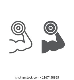 Muscle growth training line and glyph icon, gym and sport, strenght sign, vector graphics, a linear pattern on a white background, eps 10.