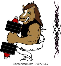 muscle horse cartoon fitness weight training gym in vector format