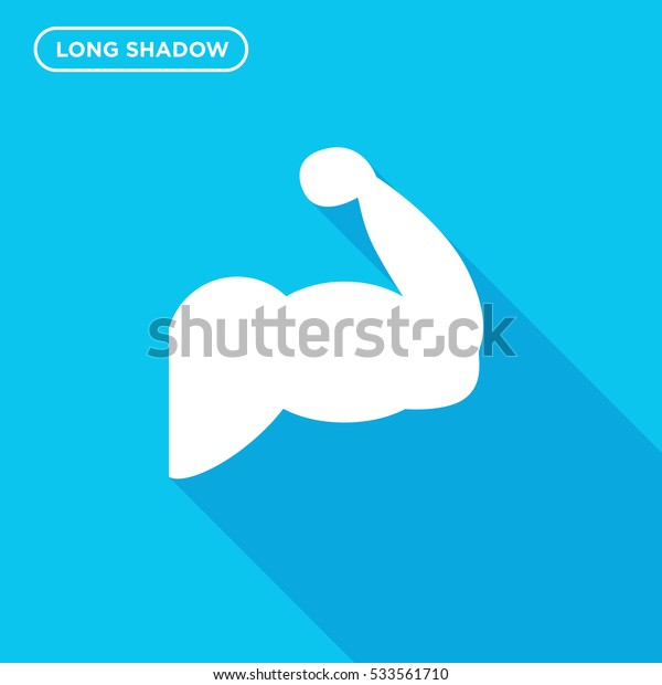 Muscle icon illustration isolated vector sign symbol in long shadow style on blue background