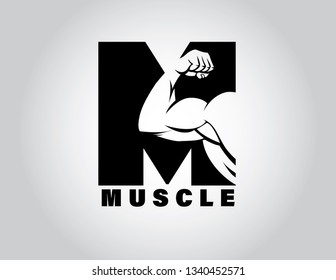 Muscle Logo with Initial Letter M-vector