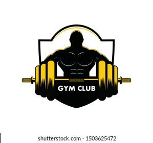 muscle man body lifting barbell for gymnastic body building vector logo design template