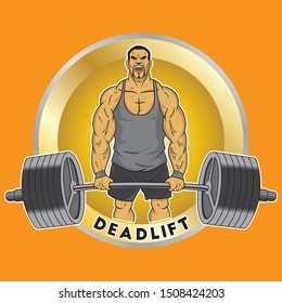 Muscle Man Deadlifting weight with background