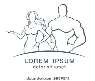 Muscle man and Fitness woman - logo