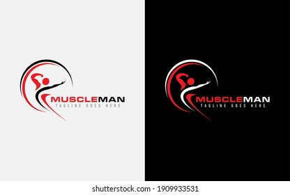 Muscle Man Logo Design. Abstract Muscular Man Pose Combine with Circle Shapes. Vector Logo Illustration.