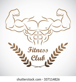 Muscle man outline for fitness club or gym logo.