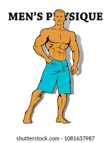 Muscle man silhouette graffiti icon, lifting weights fitness gym icon, athlete men's physique banner, bodybuilder logo on empty background, athlete men's bare torso. Men's physique lettering