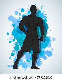 Muscle man silhouette graffiti icon on blot wall background, fitness gym icon on spot banner, bodybuilder logo on spot background, men's bare torso