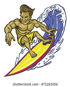 Muscle man Surfing