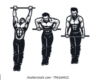 Muscle up on bar calisthenics movement : Layered Vector Illustration - Easy to Edit