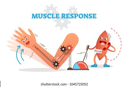 Muscle response conceptual vector illustration scheme with cartoon muscle character receiving nerve impulse and moving hand. Fun medical poster.
