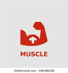 Muscle symbol. Outline muscle icon. Muscle vector illustration for graphic art.