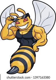 Muscled bee mascot. Vector illustration