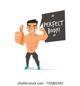 """muscleman showing thumb up with """"Perfect Body"""" speech bubble. character design  - vector illustration"""