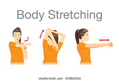 Muscles stretching posture for aches treatment at shoulder, arm, neck and back.
