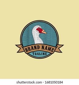 muscovy duck head vector logo badge