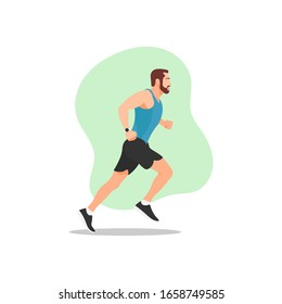 Muscular adult man with beard running or jogging. Workout excercise. Marathon athlete doing sprint outdoor - Simple flat vector illustration.