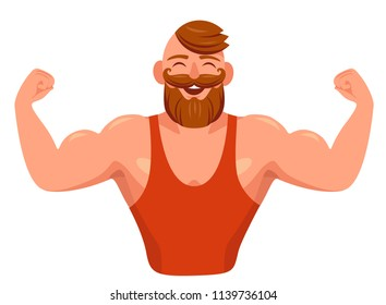 muscular bearded hipster shows off his muscles. Cartoon vector illustration