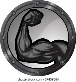 Muscular bicep flexing. The arm is on separate layers as are the background elements.