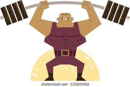 A muscular body builder lifts heavy weight