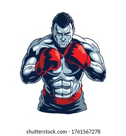 Muscular boxer isolated on white.  Champion boxing, stylized vector illustration.