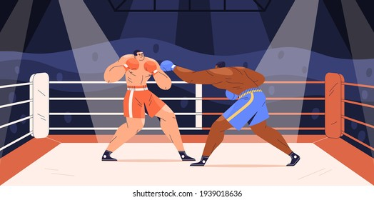 Muscular boxers fighting on boxing ring. Sparring of strong fighters in shorts and gloves on sports arena. Fighter punching his opponent. Colored flat cartoon vector illustration of wrestling