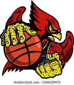 muscular cardinal basketball player mascot for school, college or league