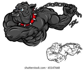 A muscular cartoon Bulldog breaks free from a chain.