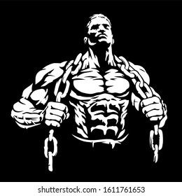 Muscular cartoon man with chains, bodybuilder, vector image
