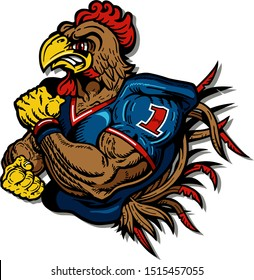 muscular gamecock football mascot for school, college or league