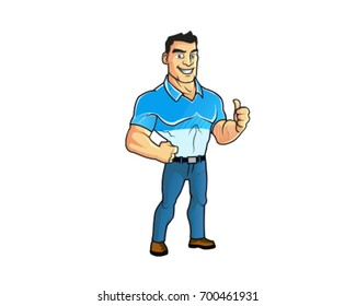 Muscular Guy Showing Thumb Up