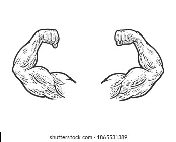 Muscular hands arms of strong man bodybuilder sketch engraving vector illustration. T-shirt apparel print design. Scratch board imitation. Black and white hand drawn image.