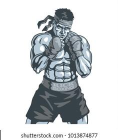 Muscular kickbox or muay thai fighter vector illustration.