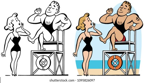 A muscular lifeguard is admired by a blonde woman.