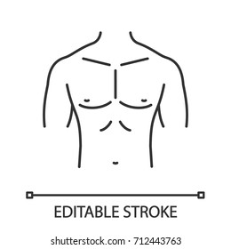 Muscular male chest linear icon. Thin line illustration. Contour symbol. Vector isolated outline drawing. Editable stroke