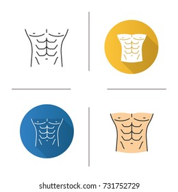 Muscular male torso icon. Flat design, linear and color styles. Man's chest. Isolated vector illustrations