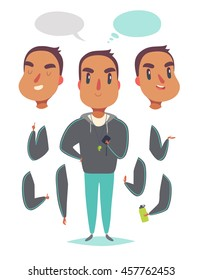 Muscular man in coach sportswear. Pack of body parts, emotions and equipment. Vector character illustration in cartoon style.